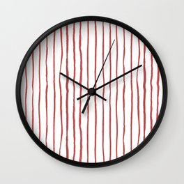 Hand painted modern abstract red geometrical stripes Wall Clock
