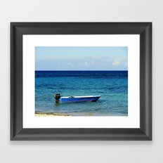 Blue boat red stripe in ocean water color photography Framed Art Print