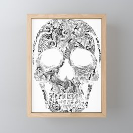 Rubino Vintage Retro Skull Drawing Flower Floral Framed Mini Art Print