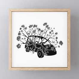 Break Free - Car With Tree Growing In It Illustration Framed Mini Art Print