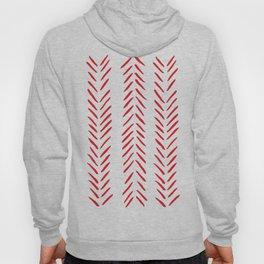 Red and White Herringbone Print Hoody