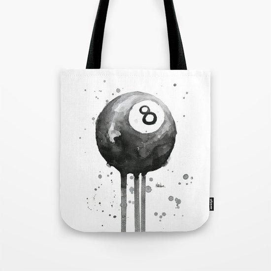 8-Ball Watercolor Black Pool Billiards Eight Ball Art Tote Bag