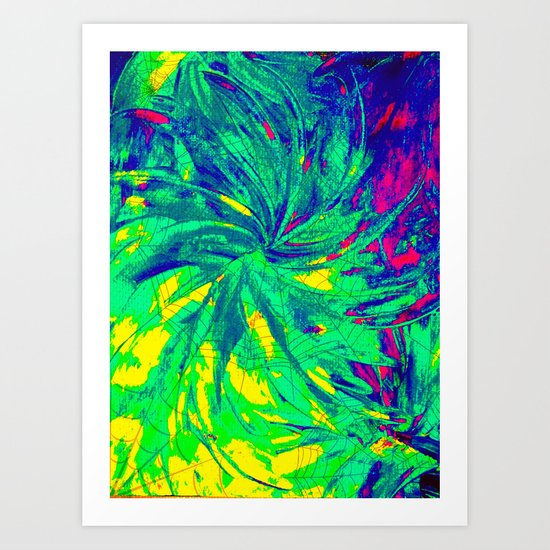 WEB OF LIES - Neon Vibrant Abstract Acrylic Painting Digital Deceit Spiderweb Manipulative Beauty Art Print