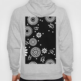 Black and white seamless floral pattern Hoody