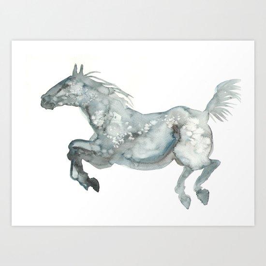 Blue Horse Art Print