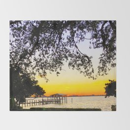 Summer Sunset Over the Bay Throw Blanket