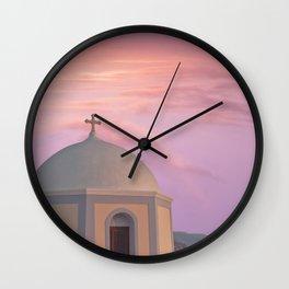 Santorini pink sunset, perfect day, famous Greek island, blush pink Wall Clock
