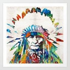 Native American Art - Chief - By Sharon Cummings Art Print