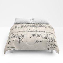 Flute Patent - Musician Art - Antique Comforters
