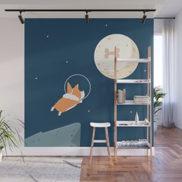 Fly to the moon _ navy blue version Wall Mural