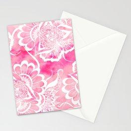 Modern boho pink watercolor white floral mandala  pattern Stationery Cards