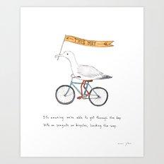 seagulls on bicycles Art Print