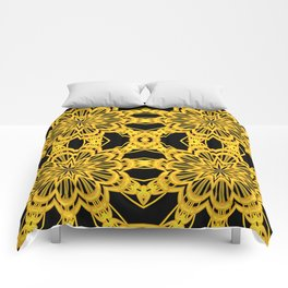 3-D Look Golden Kaleidoscopes Mandalas Flowers Comforters