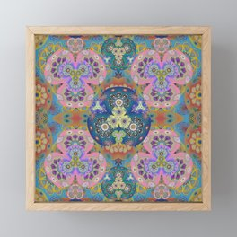 Flower of Peace Meditation Mandala Depth Print Boho Vintage Tone Framed Mini Art Print