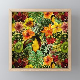 Tropical Vintage Exotic Jungle Flower Flowers - Floral watercolor pattern Framed Mini Art Print