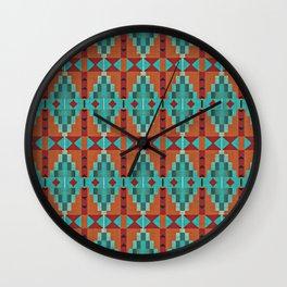 Orange Red Aqua Turquoise Teal Native Mosaic Pattern Wall Clock