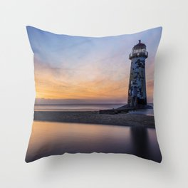 Sunset At The Lighthouse V2 Throw Pillow