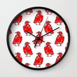 tri crows redgrey Wall Clock