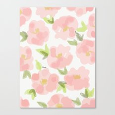 Floral watercolor pattern - pink roses Canvas Print