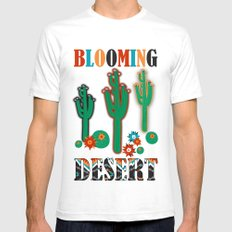Southwest Cactus White SMALL Mens Fitted Tee
