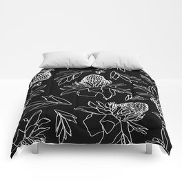 Tropical Ginger Plants in Black + White Comforters