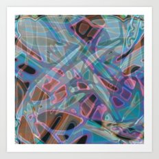 Colorful Abstract Stained Glass G302 Art Print