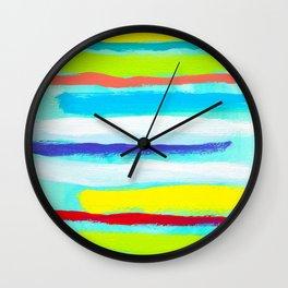 Ocean Blue Summer blue abstract painting stripes pattern beach tropical holiday california hawaii Wall Clock