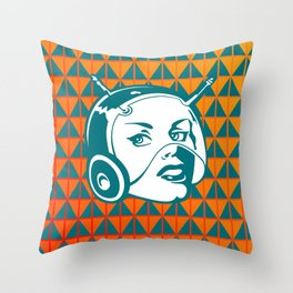 Faces: SciFi lady on a teal and orange pattern background Throw Pillow