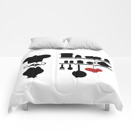 Chef silhouette with kitchen elements Comforters