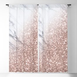 Blush Pink Sparkles on White and Gray Marble V Blackout Curtain
