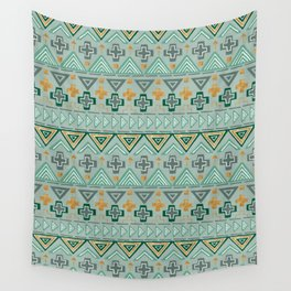 Bohemian Aztek pattern in Gold & Green Wall Tapestry