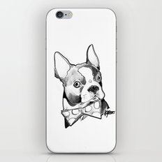 Bow Tie BostonTerrier Black and White iPhone & iPod Skin