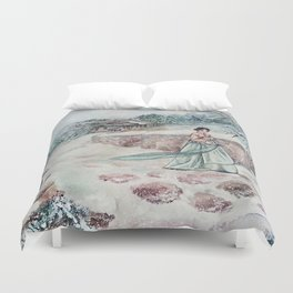 Korean Winter (Watercolor painting) Duvet Cover