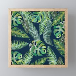Jungle Leaves, Banana, Monstera, Blue Framed Mini Art Print