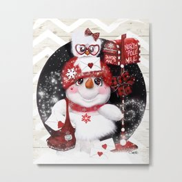 Santa Letter Delivery Snowman by Sheena Pike Metal Print