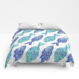 Indonesian Fish Duo – Navy & Turquoise Palette Comforters