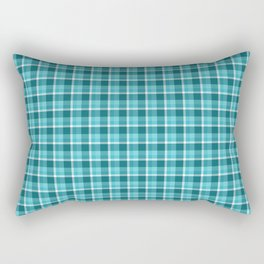 Teal Plaid Rectangular Pillow