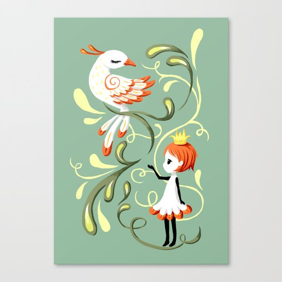 Princess and a Bird Canvas Print