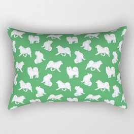 Samoyed Pattern (Green Background) Rectangular Pillow