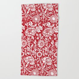 """William Morris Floral Pattern   """"Pink and Rose"""" in Red and White Beach Towel"""