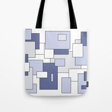 Squares -  gray, blue and white. Tote Bag