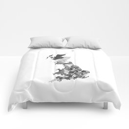 Great Britain Map Print Abstract in Camouflage Black and White - A great talking piece for the home! Comforters