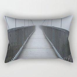 The Swinging Bridge in Fog on a Mountain Rectangular Pillow