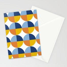 Blue Yellow Orange Retro Circle Pattern Stationery Cards