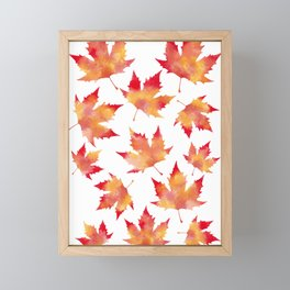 Maple leaves white Framed Mini Art Print