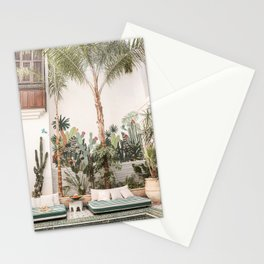 Riad Yasmine Marrakech Wanderlust Photo | Green Tropical Plant Leaves Cacti Art Print | Morocco Travel Photography Stationery Cards