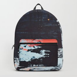 Delight [2]: a vibrant minimal abstract painting in blue and coral by Alyssa Hamilton Art Backpack