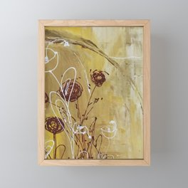 Yellow Tan Spring Abstract Flowers. Jodilynpaintings. Abstract Floral Framed Mini Art Print