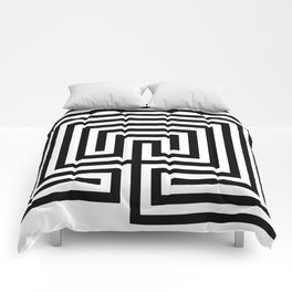 Cretan labyrinth in black and white Comforters