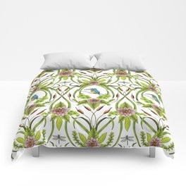 Common Kingfisher, Water Lilies, Dragonflies & Cattails Pattern Comforters